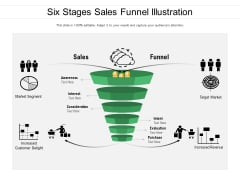 Six Stages Sales Funnel Illustration Ppt PowerPoint Presentation Gallery Structure PDF