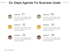 Six Steps Agenda For Business Goals Ppt PowerPoint Presentation Rules
