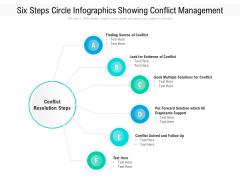 Six Steps Circle Infographics Showing Conflict Management Ppt PowerPoint Presentation File Slide PDF