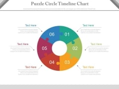 Six Steps Circular Puzzle Timeline Chart Powerpoint Slides