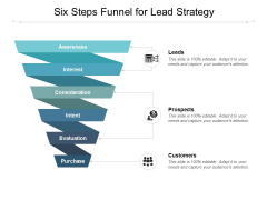 Six Steps Funnel For Lead Strategy Ppt PowerPoint Presentation Professional Maker
