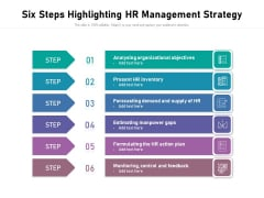 Six Steps Highlighting Hr Management Strategy Ppt PowerPoint Presentation Inspiration Structure PDF