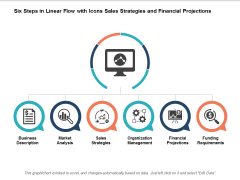 Six Steps In Linear Flow With Icons Sales Strategies And Finacial Projections Ppt Powerpoint Presentation Inspiration Guide