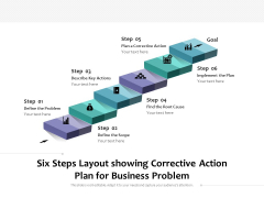 Six Steps Layout Showing Corrective Action Plan For Business Problem Ppt PowerPoint Presentation Icon Display PDF