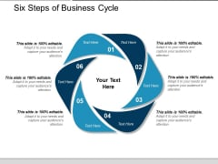 Six Steps Of Business Cycle Ppt PowerPoint Presentation Model Example