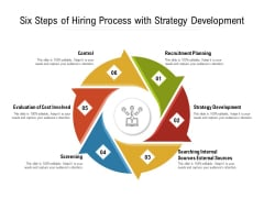 Six Steps Of Hiring Process With Strategy Development Ppt PowerPoint Presentation Gallery Aids PDF