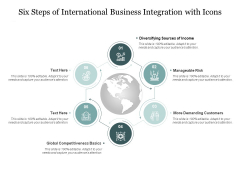Six Steps Of International Business Integration With Icons Ppt PowerPoint Presentation Portfolio Format
