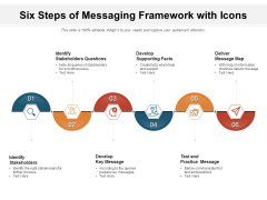 Six Steps Of Messaging Framework With Icons Ppt PowerPoint Presentation Gallery Professional PDF