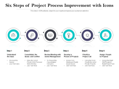 Six Steps Of Project Process Improvement With Icons Ppt PowerPoint Presentation Outline Diagrams