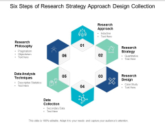 Six Steps Of Research Strategy Approach Design Collection Ppt PowerPoint Presentation Model Influencers