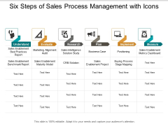 Six Steps Of Sales Process Management With Icons Ppt Powerpoint Presentation Model Smartart