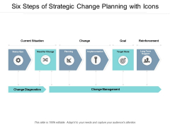 Six Steps Of Strategic Change Planning With Icons Ppt PowerPoint Presentation Infographic Template Topics