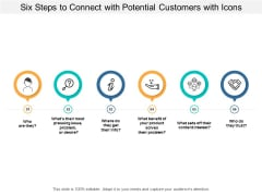 Six Steps To Connect With Potential Customers With Icons Ppt Powerpoint Presentation Layouts Slide Download