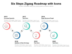 Six Steps Zigzag Roadmap With Icons Ppt PowerPoint Presentation Infographics Shapes