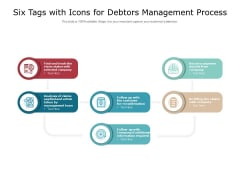 Six Tags With Icons For Debtors Management Process Ppt PowerPoint Presentation Model Professional