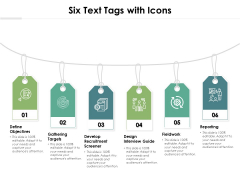Six Text Tags With Icons Ppt PowerPoint Presentation Icon Deck PDF