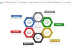 Six Thinking Hats Of Brainstorming Session Powerpoint Slide Templates Download