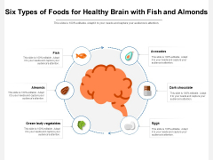 Six Types Of Foods For Healthy Brain With Fish And Almonds Ppt PowerPoint Presentation Gallery Designs Download PDF