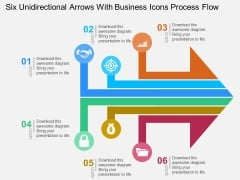 Six Unidirectional Arrows With Business Icons Process Flow Powerpoint Templates