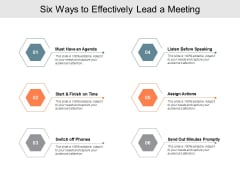 Six Ways To Effectively Lead A Meeting Ppt PowerPoint Presentation Pictures Objects