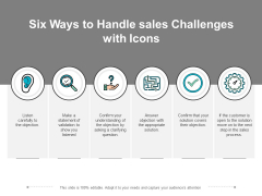Six Ways To Handle Sales Challenges With Icons Ppt PowerPoint Presentation Gallery Infographics