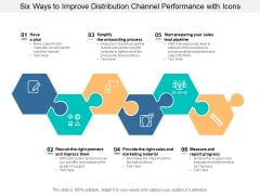 Six Ways To Improve Distribution Channel Performance With Icons Ppt PowerPoint Presentation Summary Example Topics