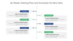 Six Weeks Training Plan And Schedule For New Hires Ppt Infographic Template Portrait PDF