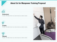 Skill Development Employee Training About Us For Manpower Training Proposal Diagrams PDF