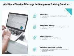 Skill Development Employee Training Additional Service Offerings For Manpower Training Services Template PDF