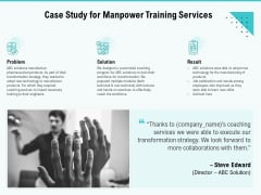Skill Development Employee Training Case Study For Manpower Training Services Pictures PDF