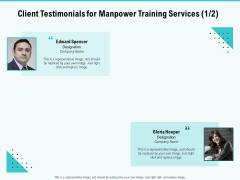 Skill Development Employee Training Client Testimonials For Manpower Training Services Representative Icons PDF