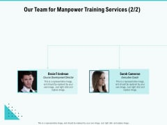 Skill Development Employee Training Our Team For Manpower Training Services Icons PDF