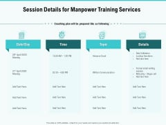Skill Development Employee Training Session Details For Manpower Training Services Topics PDF