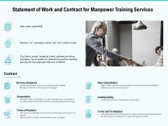 Skill Development Employee Training Statement Of Work And Contract For Manpower Training Services Infographics PDF