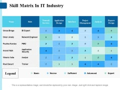 Skill Matrix In It Industry Ppt PowerPoint Presentation Icon Graphics
