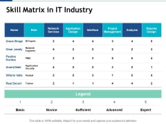 Skill Matrix In It Industry Ppt PowerPoint Presentation Ideas Inspiration