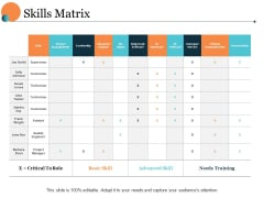 Skills Matrix Ppt PowerPoint Presentation Model Example Introduction
