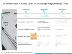 Small Retail Business Investment Thesis 4 Multiple Levers For Driving High Margin Prepared Foods Summary PDF