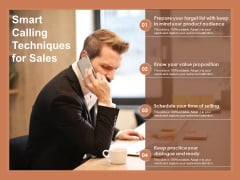 Smart Calling Techniques For Sales Ppt PowerPoint Presentation Layouts Layouts PDF