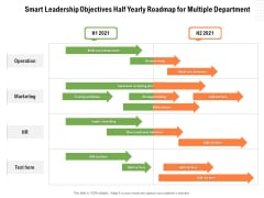 Smart Leadership Objectives Half Yearly Roadmap For Multiple Department Download
