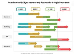Smart Leadership Objectives Quarterly Roadmap For Multiple Department Structure