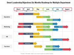 Smart Leadership Objectives Six Months Roadmap For Multiple Department Download