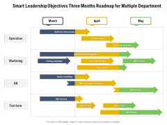 Smart Leadership Objectives Three Months Roadmap For Multiple Department Elements