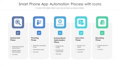 Smart Phone App Automation Process With Icons Ppt PowerPoint Presentation Icon Display PDF
