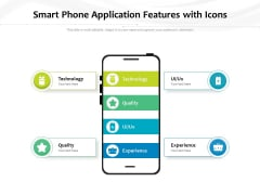 Smart Phone Application Features With Icons Ppt PowerPoint Presentation Infographic Template Slide Download PDF