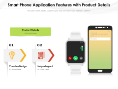 Smart Phone Application Features With Product Details Ppt PowerPoint Presentation Model Slide Download PDF