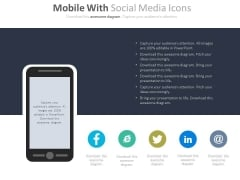 Smart Phone With Social Media Icons Powerpoint Slides