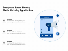 Smartphone Screen Showing Mobile Marketing App With Gear Ppt PowerPoint Presentation Gallery Background PDF