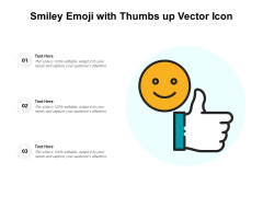 Smiley Emoji With Thumbs Up Vector Icon Ppt PowerPoint Presentation File Graphic Tips PDF