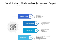 Social Business Model With Objectives And Output Ppt PowerPoint Presentation Summary Ideas PDF
